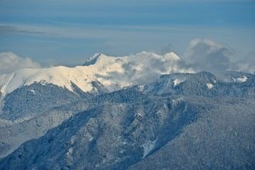 Panorama of snowy mountains. Winter forest and rocky peaks in the snow. Sunny winter day.