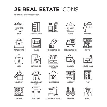 Set of 25 Real estate linear icons such as Sold, Skyscrapper, , Rent, Realtor, Motel, House plan, Flat, Cottage, Agent, vector illustration of trendy icon pack. Line icons with thin line stroke.