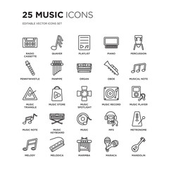 Set of 25 Music linear icons such as Radio cassette, Quaver, Playlist, Piano, Percussion, Musical Note, player, vector illustration of trendy icon pack. Line icons with thin line stroke.