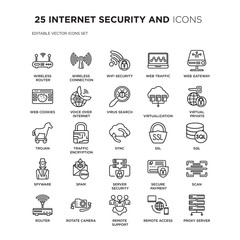 Set of 25 INTERNET SECURITY AND linear icons such as Wireless router, connection, Wifi security, web traffic, vector illustration of trendy icon pack. Line icons with thin line stroke.
