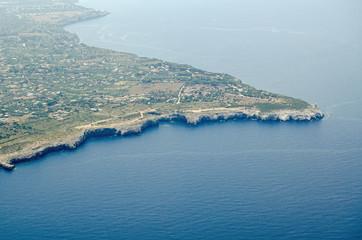 Aerial View of the Capo Rama headland, Sicily Fotobehang