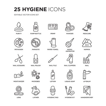 Set of 25 Hygiene linear icons such as purity, pump bottle, primp, powder, Pedicure, Napkin, Nail, Lip balm, lather, vector illustration of trendy icon pack. Line icons with thin line stroke.