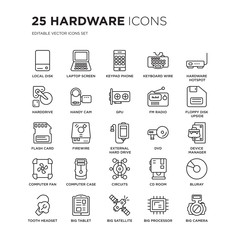 Set of 25 hardware linear icons such as Local disk, Laptop Screen, Keypad Phone, Keyboard Wire, Hardware Hotspot, vector illustration of trendy icon pack. Line icons with thin line stroke.