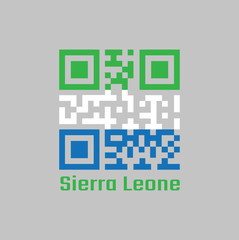 QR code set the color of Sierra leone flag, A horizontal tricolor of light green, white and light blue.