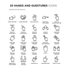 Set of 25 HANDS AND GUESTURES linear icons such as Shoot gesture, Shake Rock and roll, Push with one finger to slide, vector illustration of trendy icon pack. Line icons with thin line stroke.