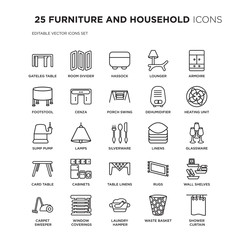Set of 25 FURNITURE AND HOUSEHOLD linear icons such as gateleg table, room divider, hassock, lounger, armoire, Heating Unit, vector illustration of trendy icon pack. Line icons with thin line stroke.