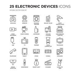 Set of 25 Electronic devices linear icons such as Weighing, Webcam, Washing machine, Walkie talkie, video surveillance, vector illustration of trendy icon pack. Line icons with thin line stroke.