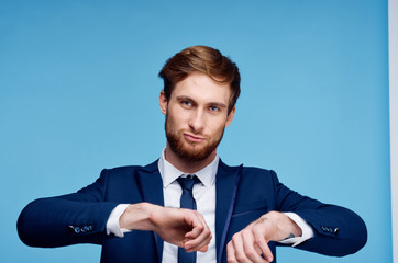 business man with a beard on a blue background
