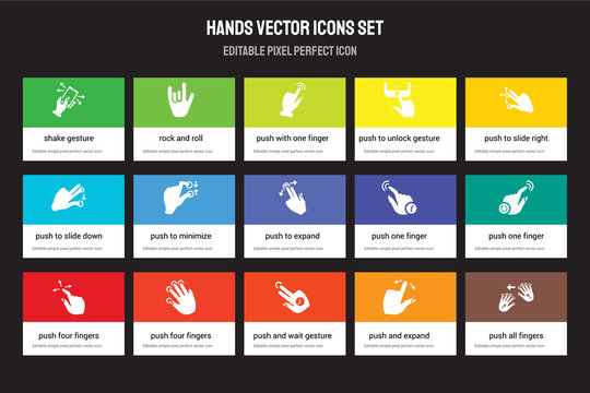 Set of 15 flat hands icons - Shake gesture, Rock and roll, Push wait expand gesture. Vector illustration isolated on colorful background
