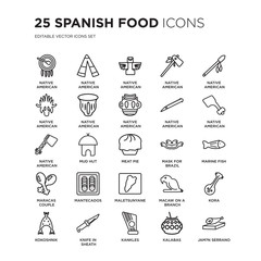 Set of 25 Spanish Food linear icons such as Native American Drum, Wigwam, Totem, Tomahawk, vector illustration of trendy icon pack. Line icons with thin line stroke.