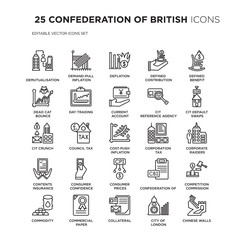 Set of 25 CONFEDERATION OF BRITISH linear icons such as Demutualisation, Demand-pull inflation, Deflation, Defined contribution pension, vector illustration of trendy icon pack. Line icons with thin
