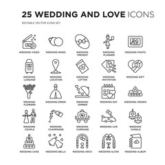 Set of 25 Wedding and love linear icons such as video, Rings, wedding Present, planner, photo, vector illustration of trendy icon pack. Line icons with thin line stroke.