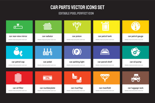 Set of 15 flat car parts icons - rear-view mirror, radiator, mud flap, petrol gauge, oil filter. Vector illustration isolated on colorful background