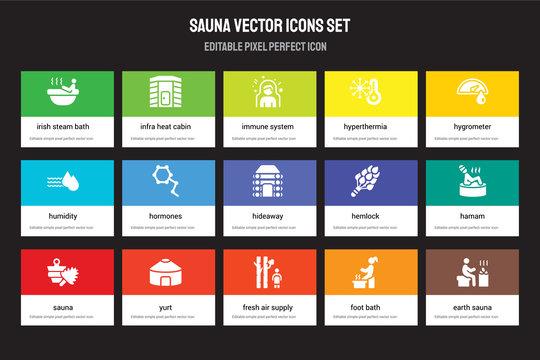 Set of 15 flat sauna icons - Irish steam bath, Infra heat cabin, Fresh air supply, Hygrometer, Sauna, Hemlock, Hamam, Foot bath. Vector illustration isolated on colorful background