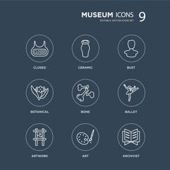 9 Closed, Ceramic, Artwork, Ballet, Bone, Bust, Botanical, Art modern icons on black background, vector illustration, eps10, trendy icon set.