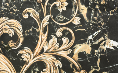 ceramic tile with abstract ornamental floral pattern