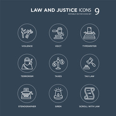 9 Violence, Veict, Stenographer, Tax law, Taxes, Typewriter, terrorism, Siren modern icons on black background, vector illustration, eps10, trendy icon set.