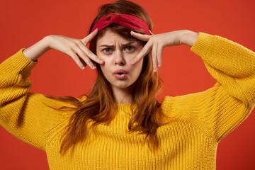 fashion beautiful woman marks fingers emotions portrait