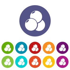 Paintball sport balls icons color set vector for any web design on white background