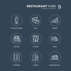 9 Do not disturb, Dish, Cookbook, Crab, Cutlery, Dinner, Dim sum, Closed modern icons on black background, vector illustration, eps10, trendy icon set.
