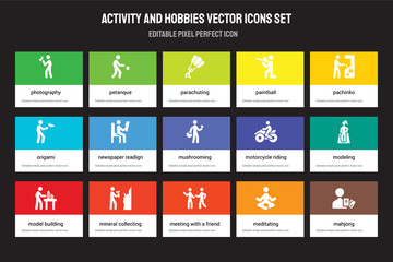 Set of 15 flat activity and hobbies icons - Photography, Petanque, Meeting with a Friend, Pachinko, Model building. Vector illustration isolated on colorful background