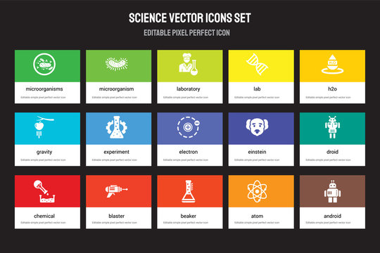 Set of 15 flat science icons - Microorganisms, Microorganism, Beaker, H2o, Chemical, Einstein, Droid, Atom. Vector illustration isolated on colorful background