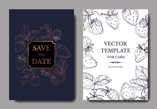 Vector Strawberry fruits. Engraved ink art. Wedding background card floral decorative border.