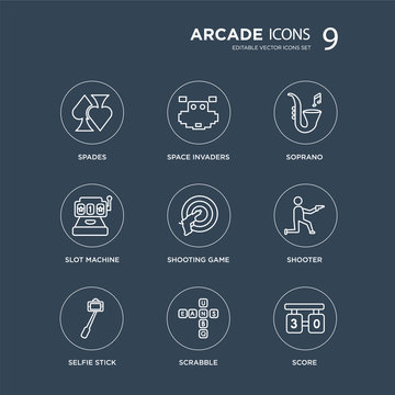 9 Spades, Space invaders, Selfie stick, Shooter, Shooting game, Soprano, Slot machine, Scrabble modern icons on black background, vector illustration, eps10, trendy icon set.