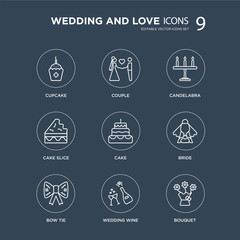 9 Cupcake, Couple, Bow tie, Bride, Cake, Candelabra, Cake slice, wedding Wine modern icons on black background, vector illustration, eps10, trendy icon set.