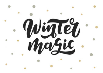 Winter magic hand drawn lettering