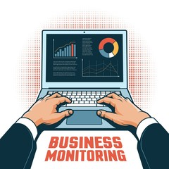 Hands of a businessman with a laptop track financial performance on the screen. Vector illustration in retro style.