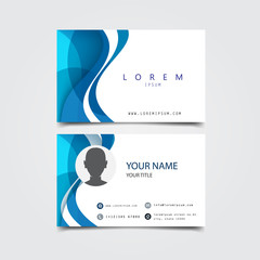 business card with abstract wave framing