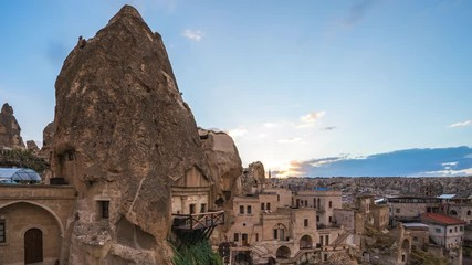 Wall Mural - Night in Cappadocia time lapse with Cappadocia city skyline in Goreme, Turkey
