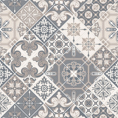 Azulejo tile seamless pattern. Traditional Portuguese ornament in patchwork style.