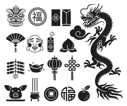 Chinese new year icons set. Vector llustrations.