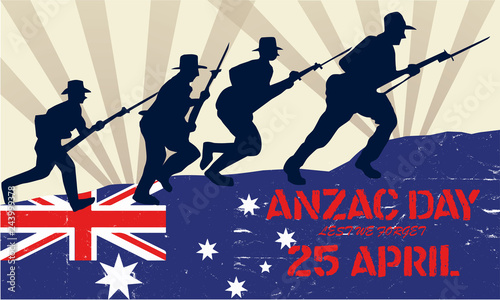 Anzac Day, silhouette of soldiers fighting at war with Australia