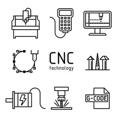 Vector set of cnc milling machine icons.