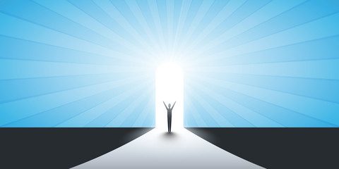 New Possibilities, Hope, Dreams - Business, Solutions Finding Concept - Man Standing in Front of a Door, Light at the End of the Road