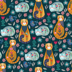Seamless pattern with cute cats and birds, flowers and leaves on dark background, vector illustration