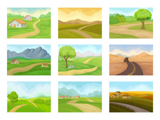 Flat vector set of natural landscapes with road, green meadows, houses and mountains. Outdoor scenery