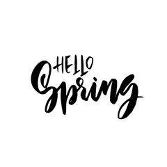 Hello Spring. Handdrawn modern brushpen lettering. Vector illustration.