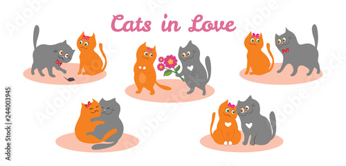 Set Of Illustrations With Couple Of Cats In Love Cute Cartoon Cats