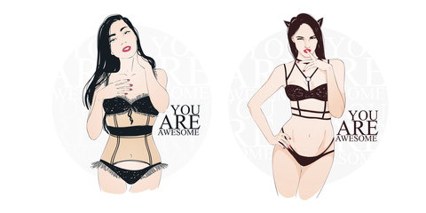Beautiful sexy catwoman in black nderwear staing and flirting. Vector hand drawn illustration
