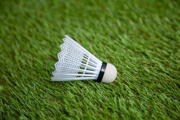 white plastic shuttlecock on green grass