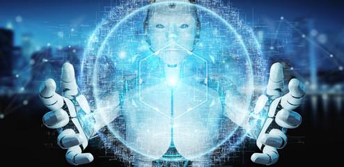 White cyborg woman using digital eye surveillance hologram 3D rendering