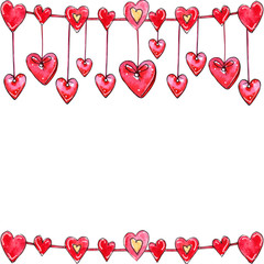 Watercolor hand drawn template of hearts garland