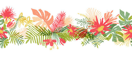 Tropical flower hand drawn border, illustration isolated on white background. Floral bouquet, exotic plant leaf, doodle style