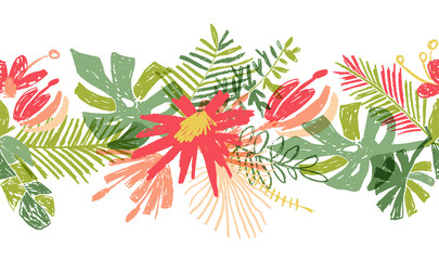 Tropical flower hand drawn header or border, illustration isolated on white background. Floral bouquet, exotic plant leaf, botanical composition in doodle style