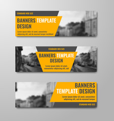 Wall Mural - Templates of horizontal vector banners with diagonal orange elements and space for photos.
