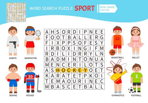 Words puzzle children educational game. Learning vocabulary. Sports.